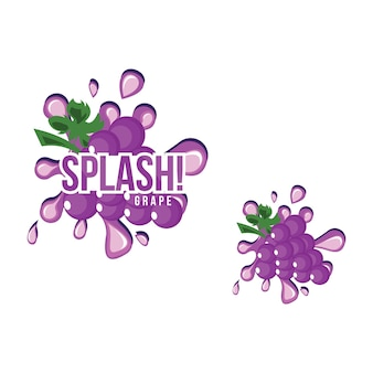 Purple grape fruit fresh splash juice drink illustration