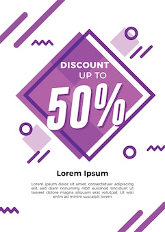 Purple graphic discount flyer template