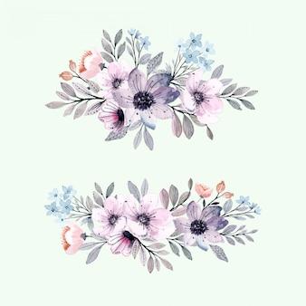 Purple gray floral arrangement with watercolor