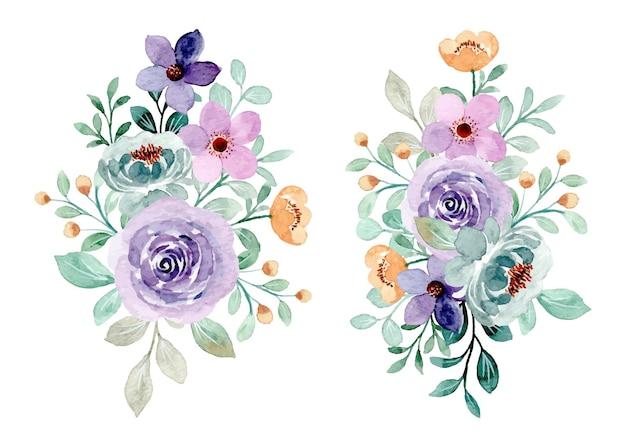 수채화와 보라색 녹색 꽃 꽃다발 컬렉션