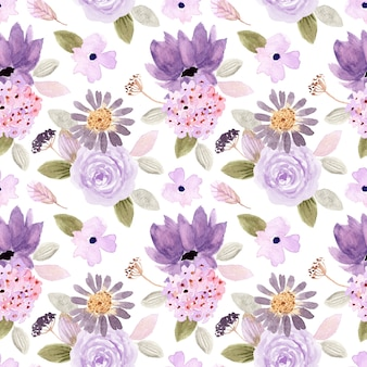 Purple green floral watercolor seamless pattern