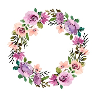 Purple green floral wreath with watercolor