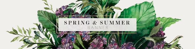 Purple and green foliage summer banner