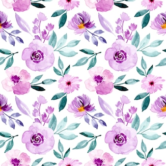 Purple and green pattern with watercolor floral