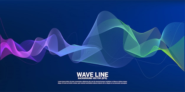 Purple green sound wave line curve on dark background. element for theme technology futuristic