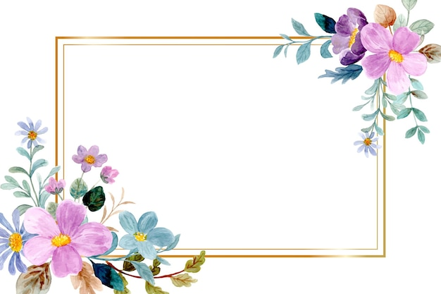 Purple green watercolor floral frame