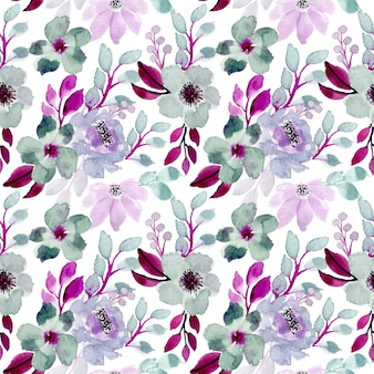 Purple and green watercolor floral seamless pattern