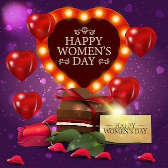 사탕과 장미와 함께 여성의 날 보라색 인사말 카드