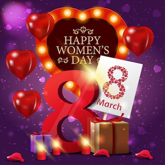 여성의 날 보라색 인사말 카드