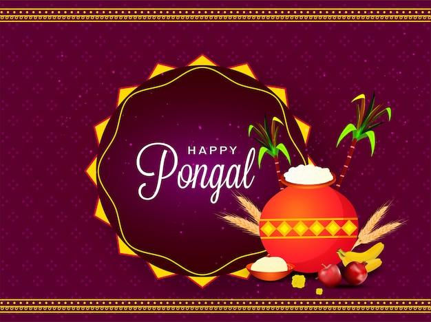 Purple greeting card  with mud pot full of rice, fruit, wheat ear and sugarcane for happy pongal celebration.