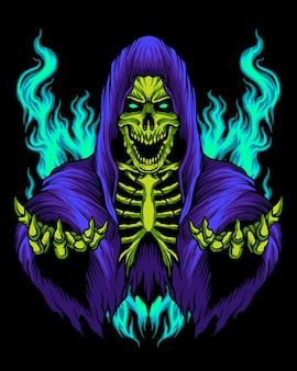 Purple grim reaper skull logo