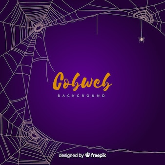 Purple halloween cobweb background