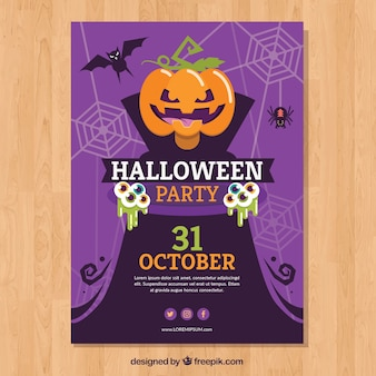 Purple halloween party poster with pumpkin