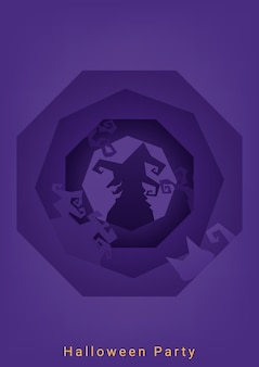 Purple halloween party roughen octagon silhouette background
