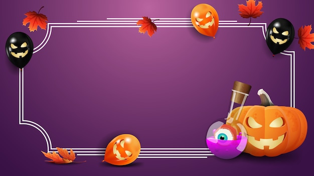 Purple halloween template with frame for text, pumpkin jack and witch's potion