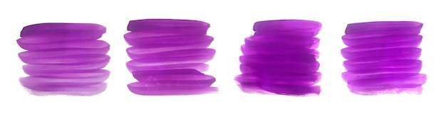紫の手描きの抽象的なブラシストロークセット