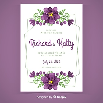 Purple hand painted floral frame wedding invitation