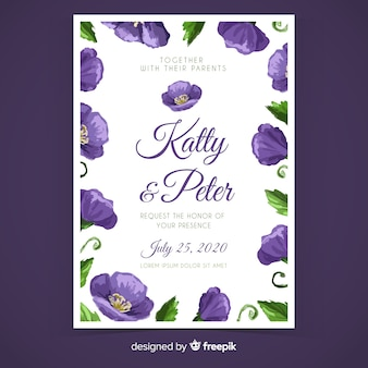 Purple hand painted floral wedding invitation template