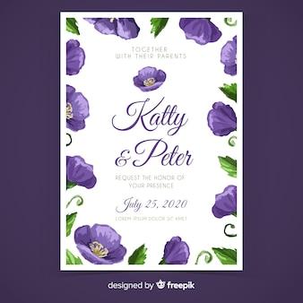 紫の手描きの花の結婚式の招待状のテンプレート