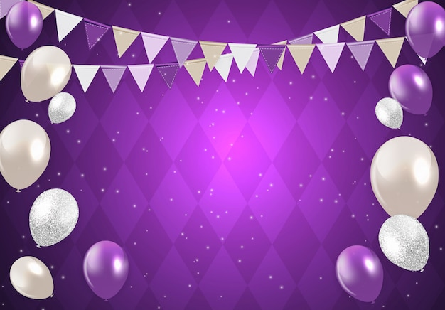 Purple happy birthday balloons background