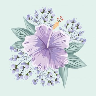 Purple hawaiian flower with leaves painting design, natural floral nature plant ornament garden decoration and botany theme illustration