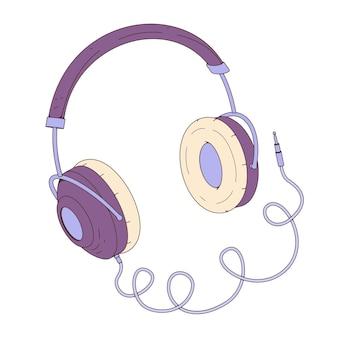 Фиолетовые наушники. векторные иллюстрации в мультяшном стиле. концепция онлайн-образования