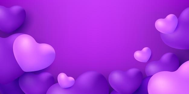 Purple heart balloons on a purple background