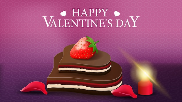 Purple horizontal valentine's day greeting card