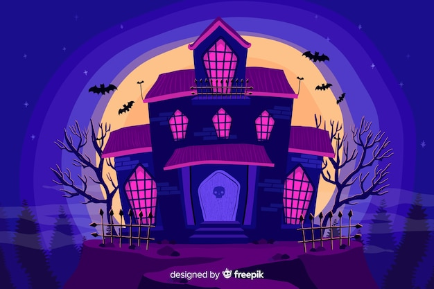 Purple house halloween background