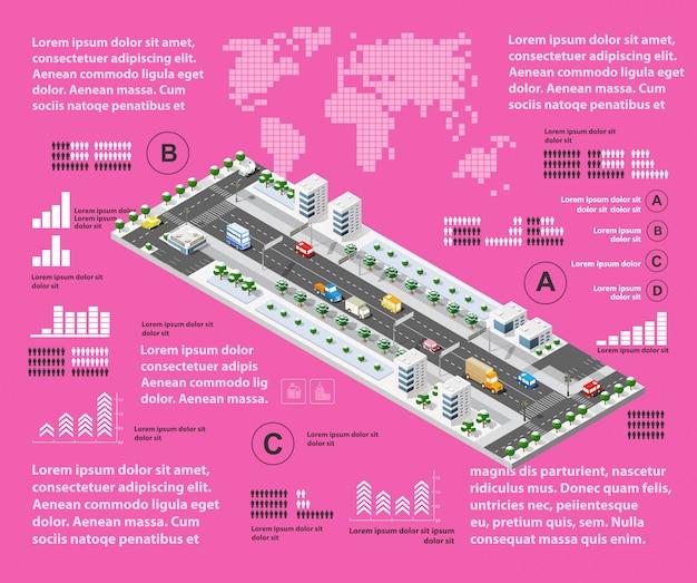 Purple illustration infographics