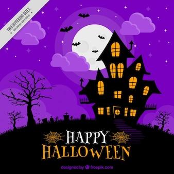 Purple iluminated haunted house background