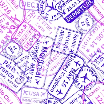 Purple international travel visa rubber stamps imprints on white, seamless pattern