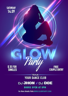 Purple invitation card or flyer design with silhouette female and lighting rays for glow party celebration.