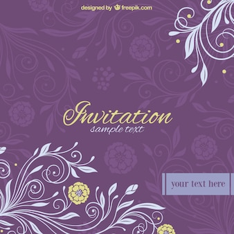 Purple Invitation With Flowers Vector Free Download