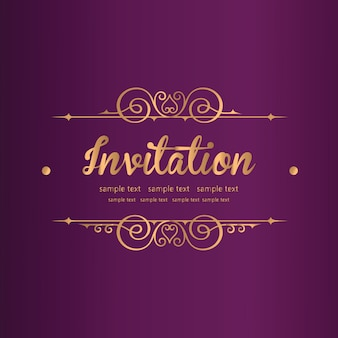 Purple invitation with lace floral ornament