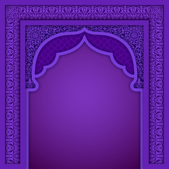 Purple islamic arch design template