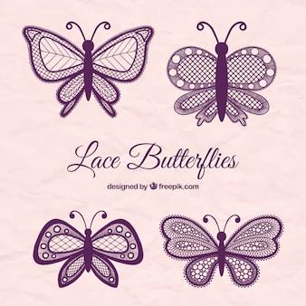 Farfalle di pizzo viola