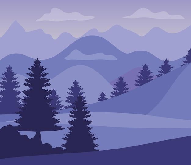 실루엣 산과 소나무와 보라색 풍경입니다.