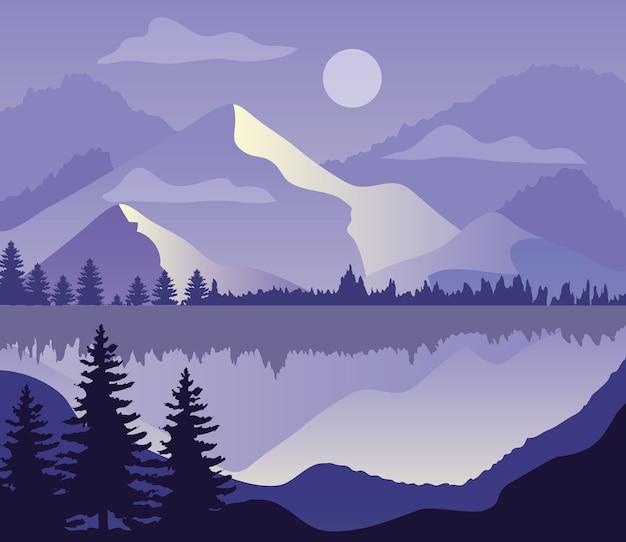 산, 호수, 소나무의 실루엣과 보라색 풍경.