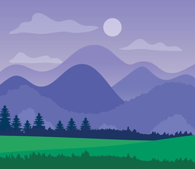 산, 소나무 및 잔디의 실루엣과 보라색 풍경.