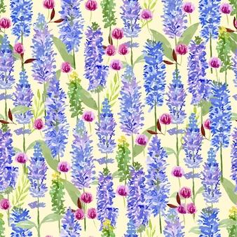 Purple lavender and globe amaranth watercolor seamless pattern