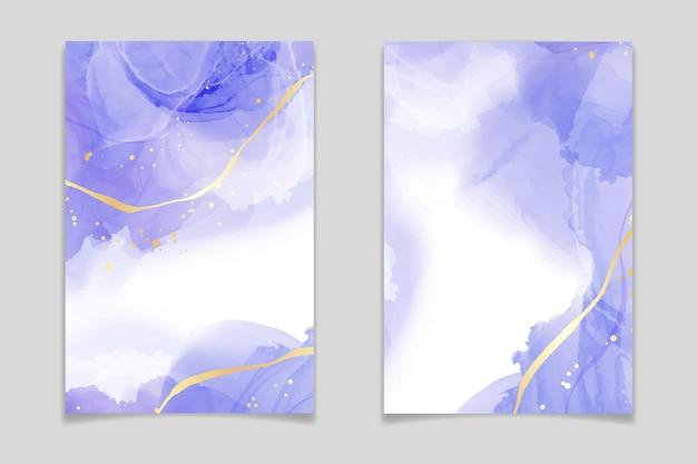 金色の線と紫のラベンダー色の液体水彩背景