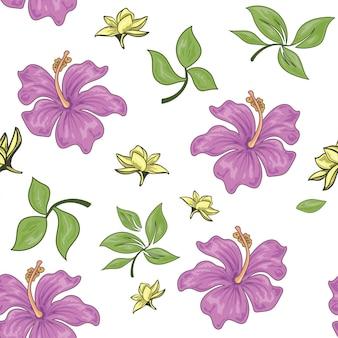 紫色の葉のシームレスパターン
