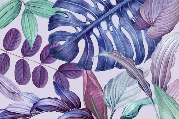 紫の葉のフレームデザインベクトル