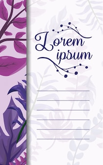 Purple leaves with blank space to insert text
