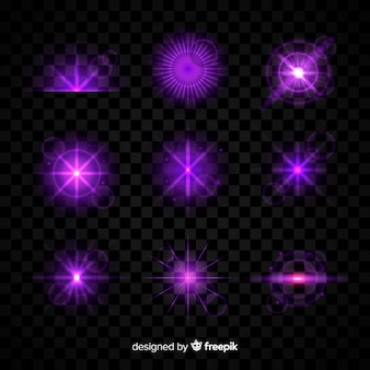 Purple light effect collection on transparent background