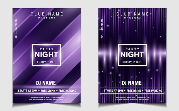 Purple light night dance party music flyer or poster design