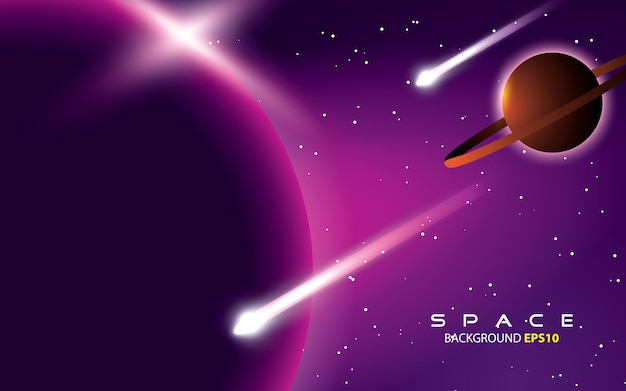Purple light space background and the planet