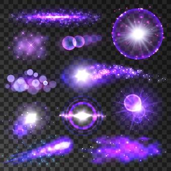 Фиолетовые огни. неоновый свет боке вспыхивает и искрится