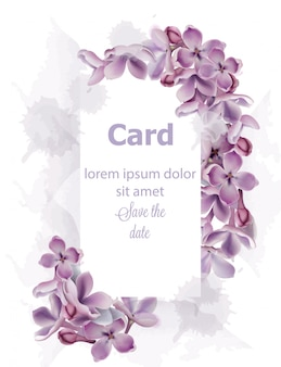 Purple lilac flowers card invitation watercolor